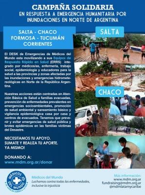 Campaña solidaria en respuesta a emergencia humanitaria por inundaciones en norte de Argentina (Salta-Chaco-Formosa-Tucumán-Corrientes)